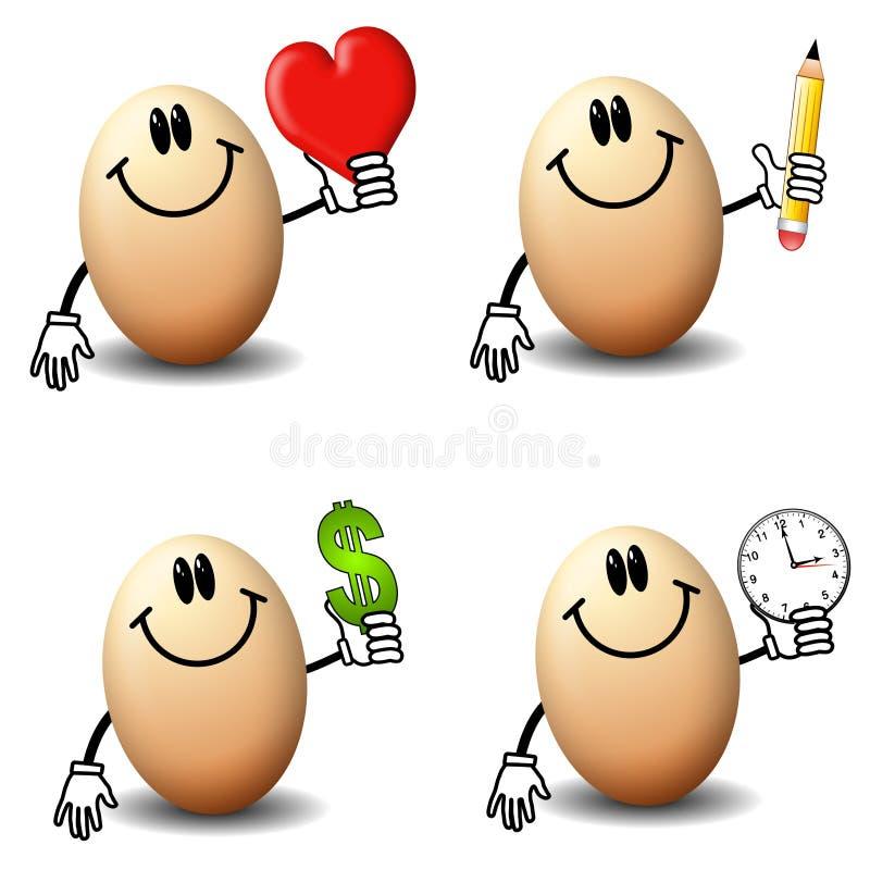 cartoon eggs holding objects иллюстрация вектора