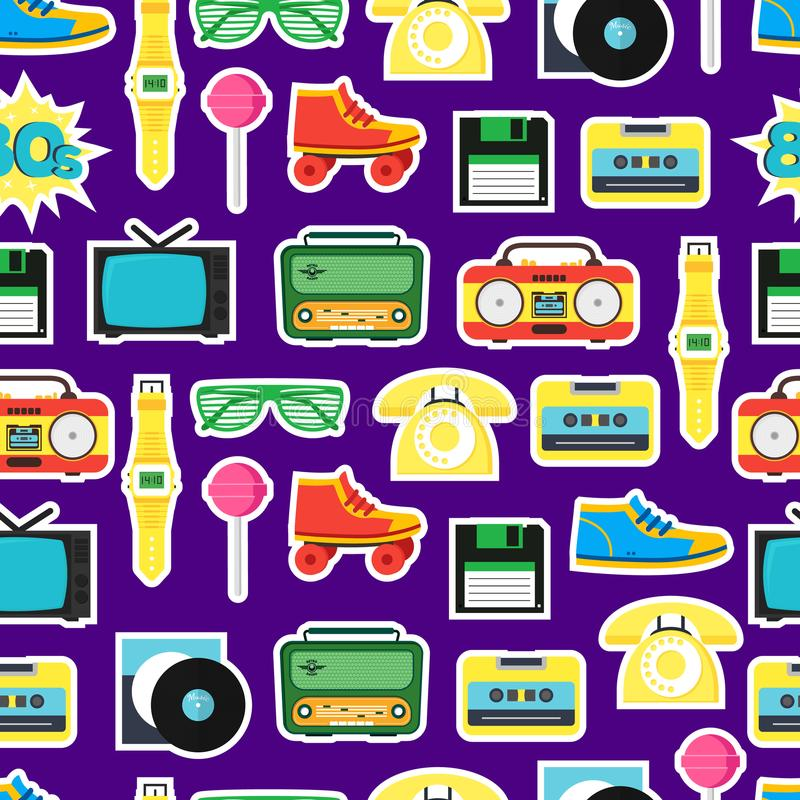 Cartoon Eighties Style Symbol Background Pattern. Vector. Cartoon Eighties Style Symbol Background Pattern Retro Concept of Audio Tape, Phone and Shoe Accessory royalty free illustration
