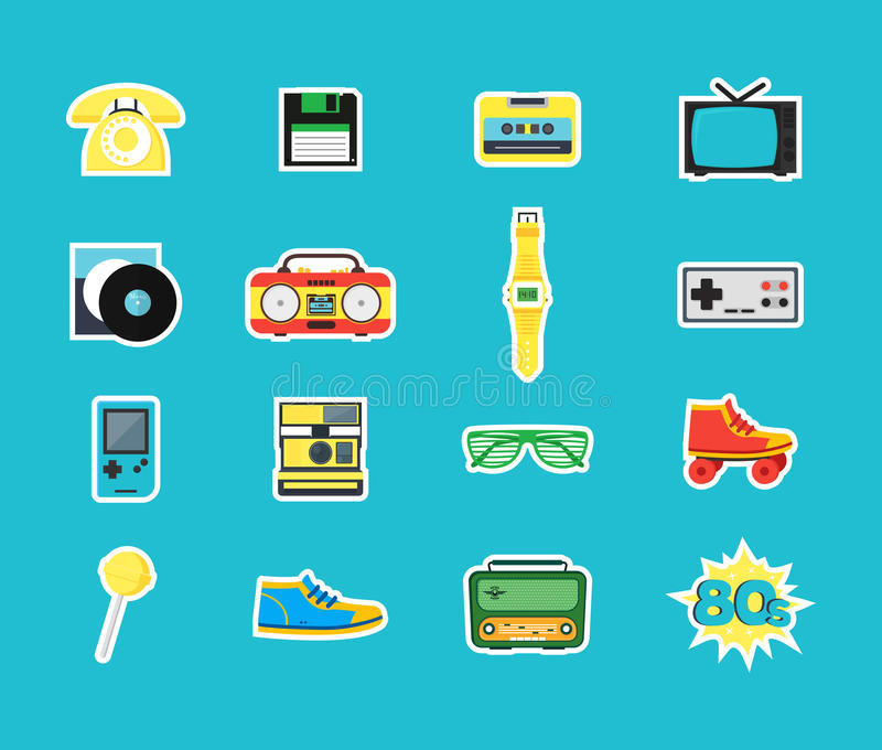 Cartoon Eighties Style Symbol Color Icons Set. Vector vector illustration