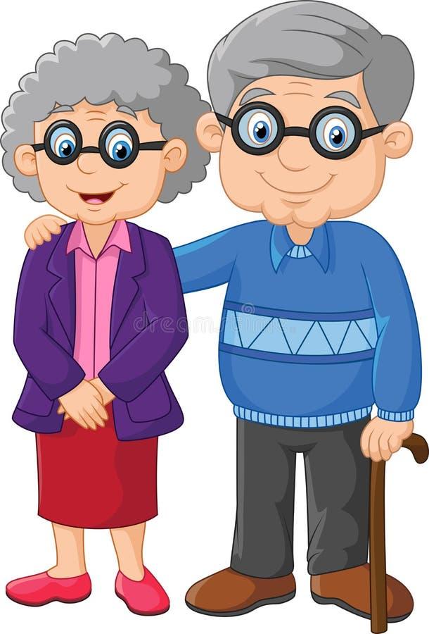 Cartoon elderly couple on white background. Illustration of Cartoon elderly couple on white background vector illustration