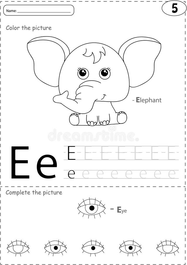 Free Cartoon Elephant And Eye. Alphabet Tracing Worksheet: Writing A-Z And Educational Game For Kids Royalty Free Stock Image - 66733256