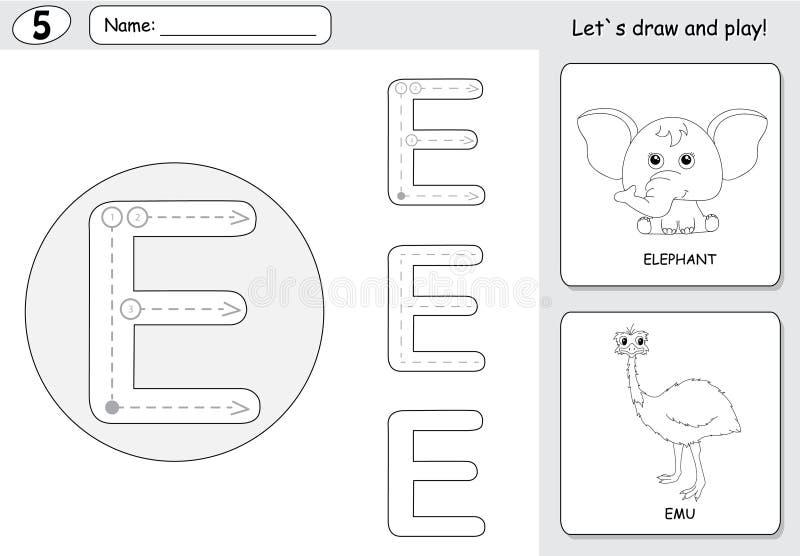 Cartoon Elephant And Emu. Alphabet Tracing Worksheet