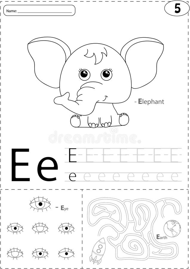 Cartoon elephant, eye and Earth. Alphabet tracing worksheet: writing A-Z and educational game for kids stock illustration