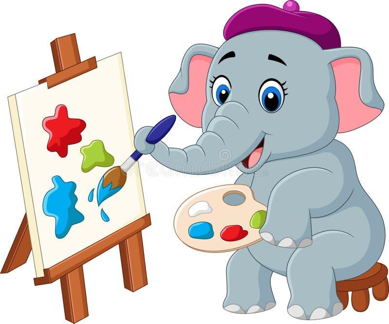 Cartoon elephant painting isolated on white background vector illustration