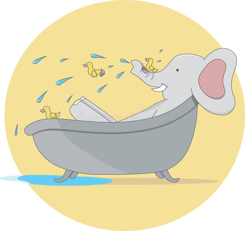 Cartoon Elephant Taking a Bath With Small Ducks. Illustration of Elephant Taking a Bath With Small Ducks vector illustration