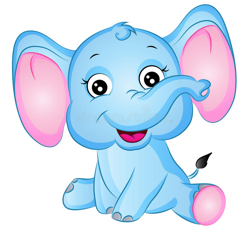 Cartoon Elephant Vector Illustration. Cute Cartoon Baby Elephant Vector Illustration with friendly smile and big ears vector illustration