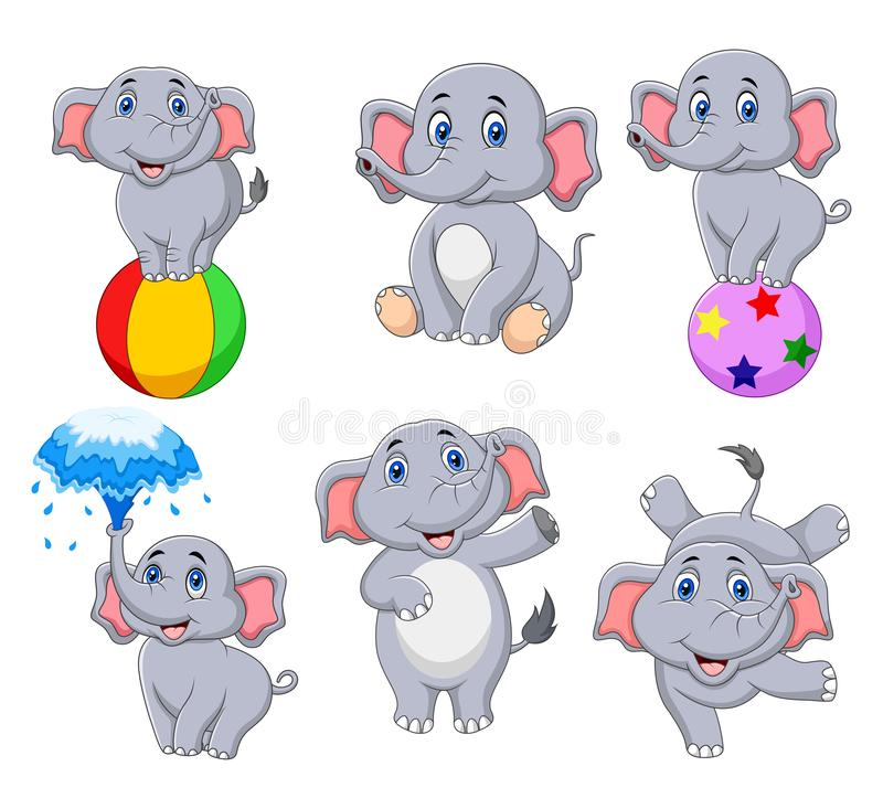 Cartoon elephants collection with different actions vector illustration