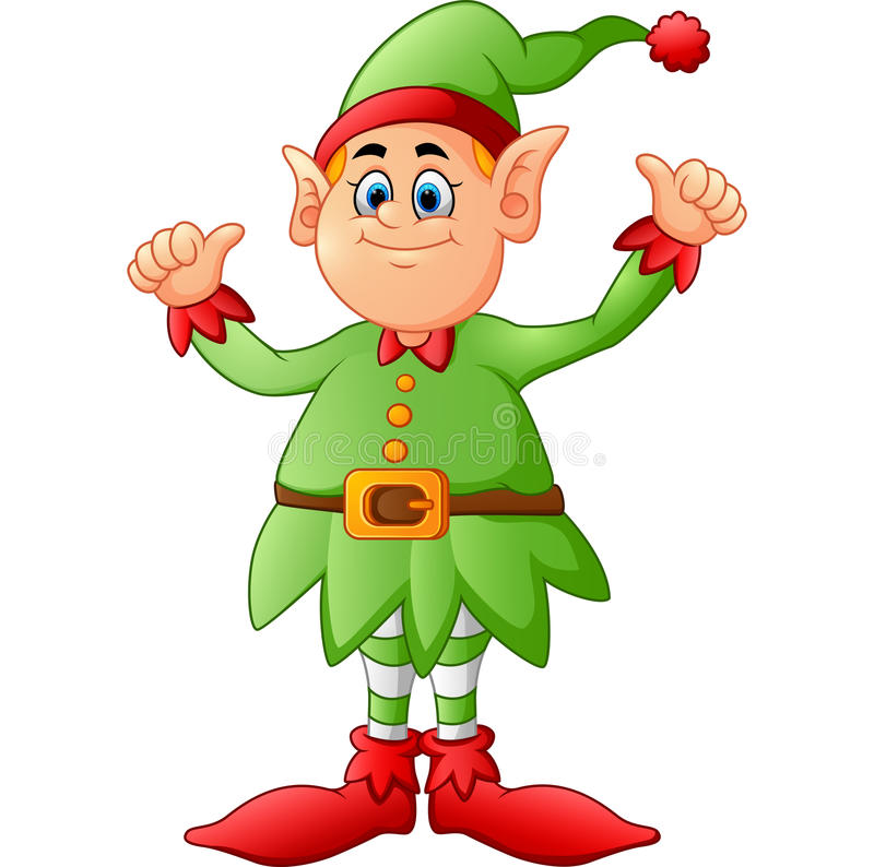 Cartoon elf giving two thumbs up stock vector