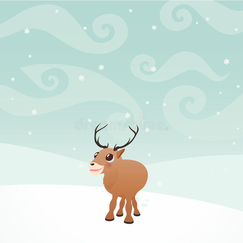 Cartoon Elk in winter on a snow royalty free stock photos