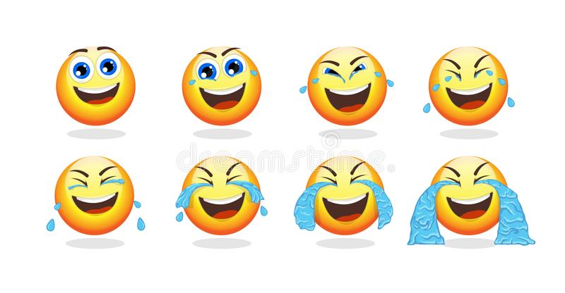 Cartoon Emoji Animation Collection. With funny cute emoticon crying with laughter isolated vector illustration stock illustration