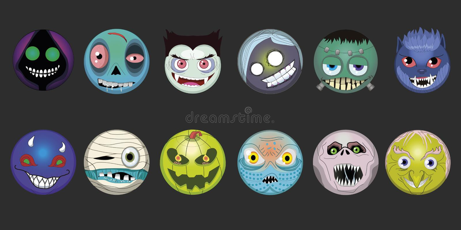 Cartoon emoji Halloween monsters smile face Frankenstein ghost emoticons werewolf smilling mummy zombie vampire vector 2d royalty free illustration
