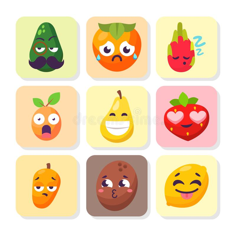 Cartoon emotions fruit characters natural food vector smile nature happy expression juicy mascot tasty design. stock illustration