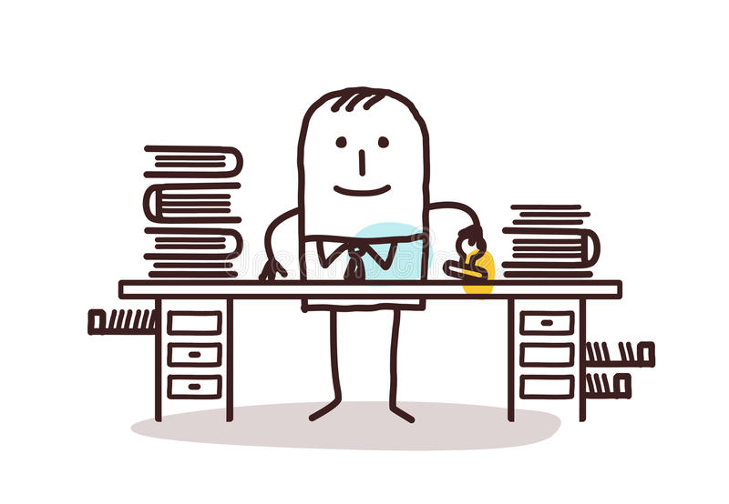 Cartoon employee man working at his desk. Vector royalty free illustration