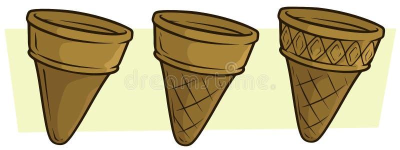 Cartoon empty ice cream cornet vector icon set. Cartoon empty realistic ice cream wafer cornet. Vector icon set vector illustration