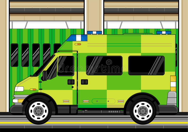 Cartoon EMT Ambulance. Vector Illustration a British EMT Medics Ambulance at the Station. An EPS file is also available vector illustration