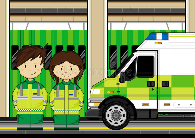 Cartoon EMT Medic and Ambulance. Vector Illustration a British Medic and Ambulance stock illustration