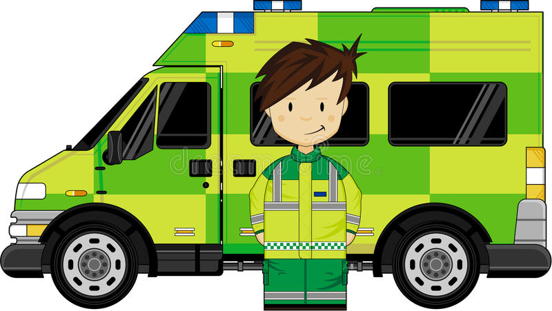 Cartoon EMT Medic and Ambulance. Vector Illustration a British Medic and Ambulance. An EPS file is also available stock illustration