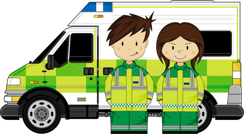 Cartoon EMT Medic and Ambulance. Vector Illustration a British Medic and Ambulance. An EPS file is also available vector illustration