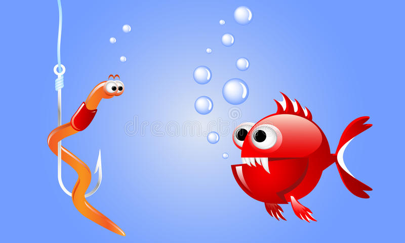 Cartoon evil red fish looking at a worm on a fishing hook underwater with bubbles. vector illustration