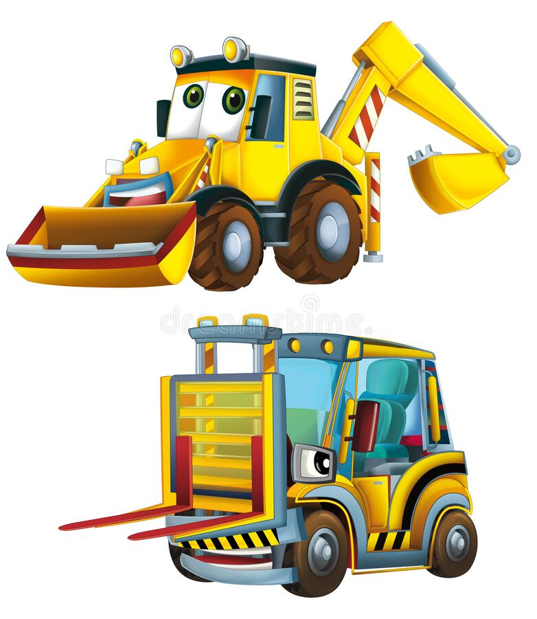 Free Cartoon Excavator And Other Industrial Car - Illustration Royalty Free Stock Photography - 182852867