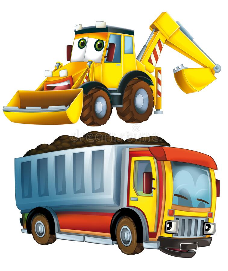 Cartoon excavator and other industrial car - illustration royalty free stock image