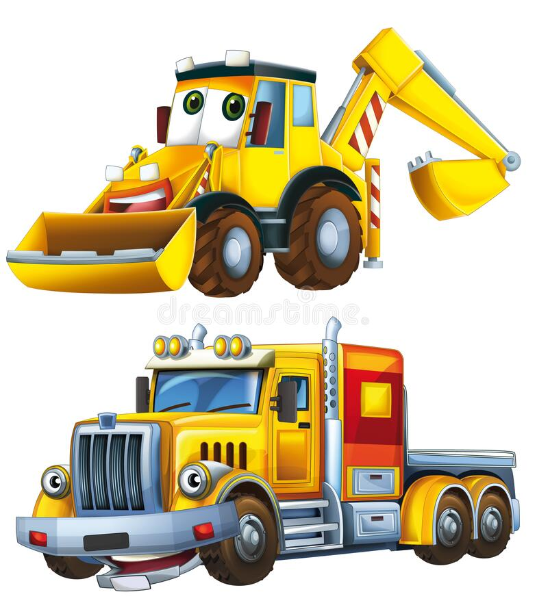 Cartoon excavator and other industrial car - illustration stock photography