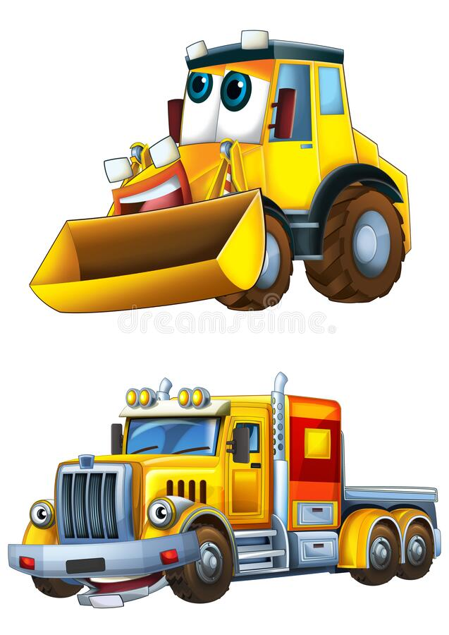 Cartoon excavator and other industrial car - illustration royalty free stock images