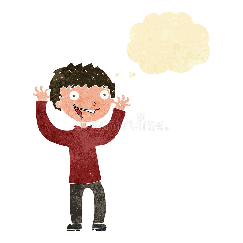 Cartoon excited boy with thought bubble vector illustration