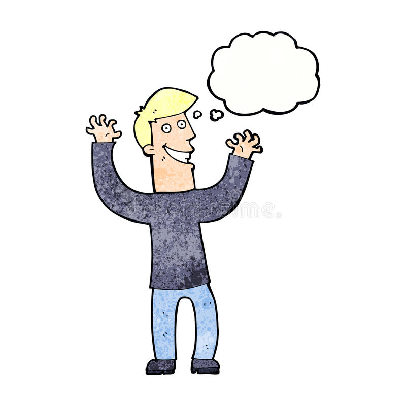 Cartoon excited man with thought bubble vector illustration