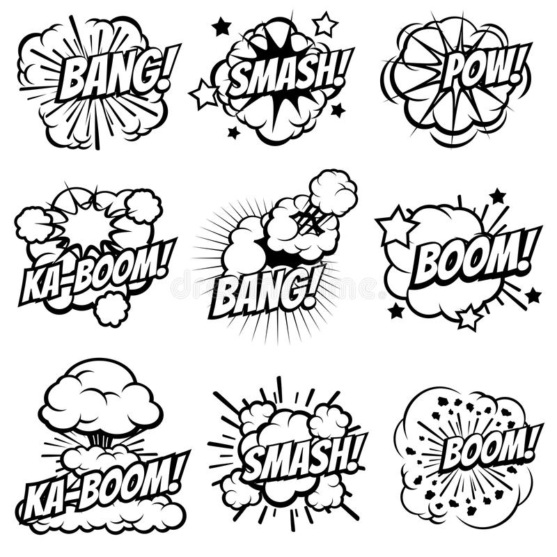 Cartoon explode icons. Comic book explosion bubbles. Pop art big bang and boom smoke clouds vector set stock illustration