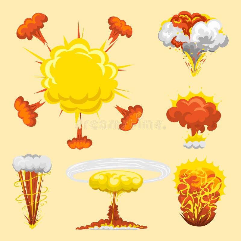 Cartoon explosion boom effect animation game sprite sheet explode burst blast fire comic flame vector illustration. stock illustration