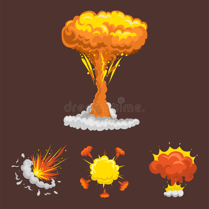 Cartoon explosion boom effect animation game sprite sheet explode burst blast fire comic flame vector illustration. royalty free illustration