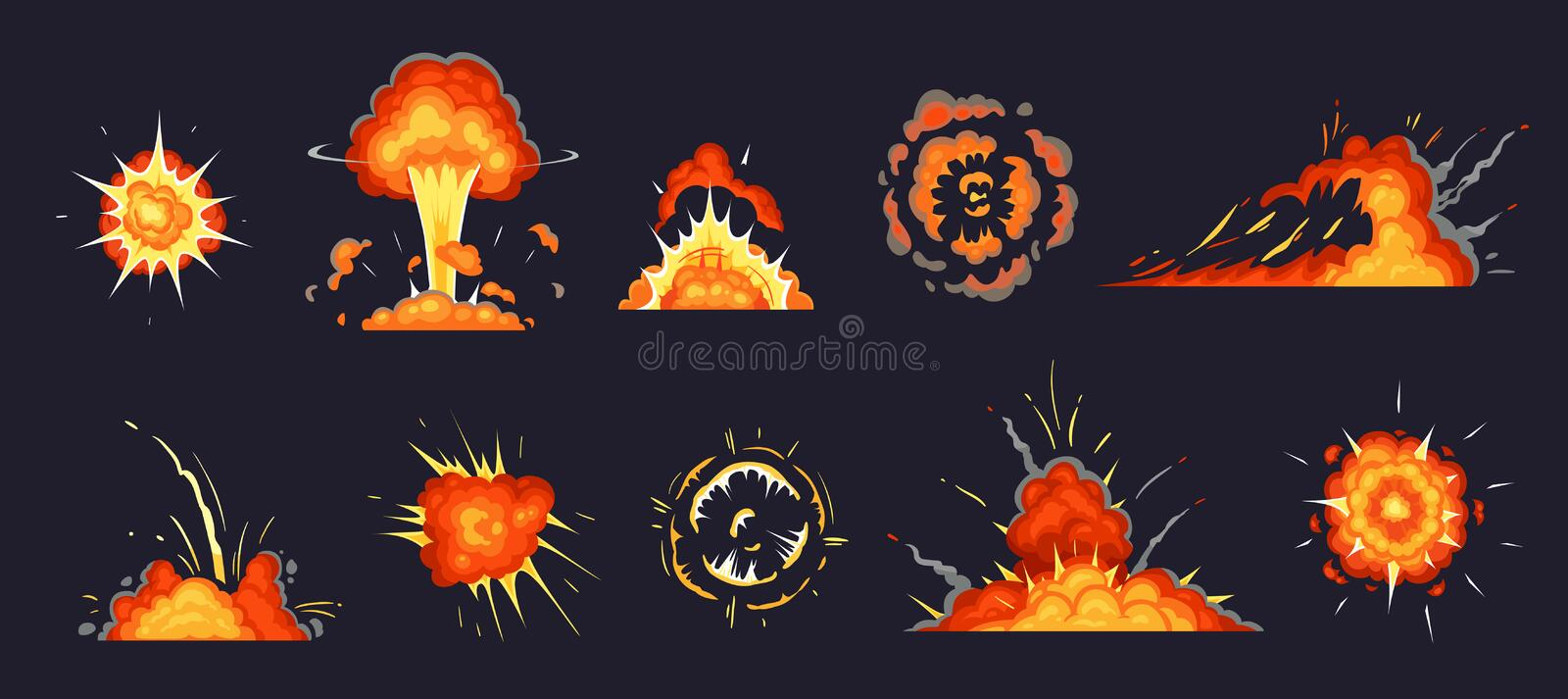 Cartoon explosion. Exploding bomb, atomic explode effect and comic explosions smoke clouds vector illustration set royalty free illustration