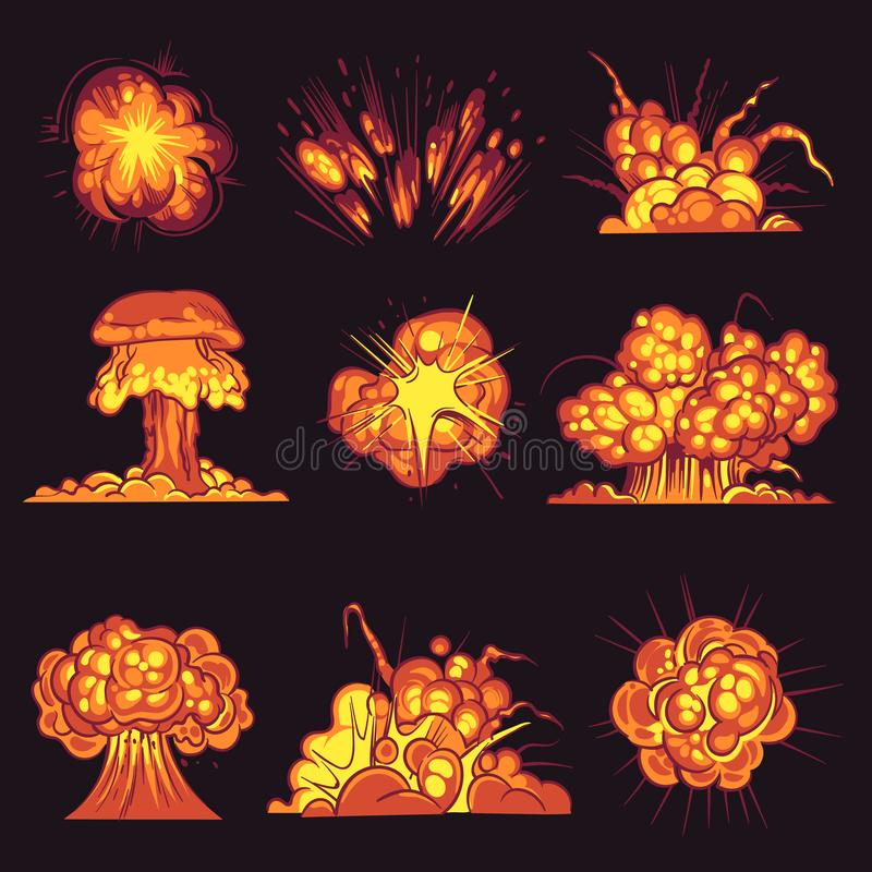 Cartoon explosions. Bomb explosion, fire bang with smoke effect. Explode dynamite, flash destruction, danger objects royalty free illustration