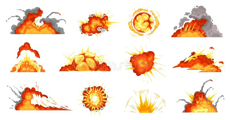 Cartoon explosions. Exploding bomb, fire cloud and explosion burst vector illustration set vector illustration