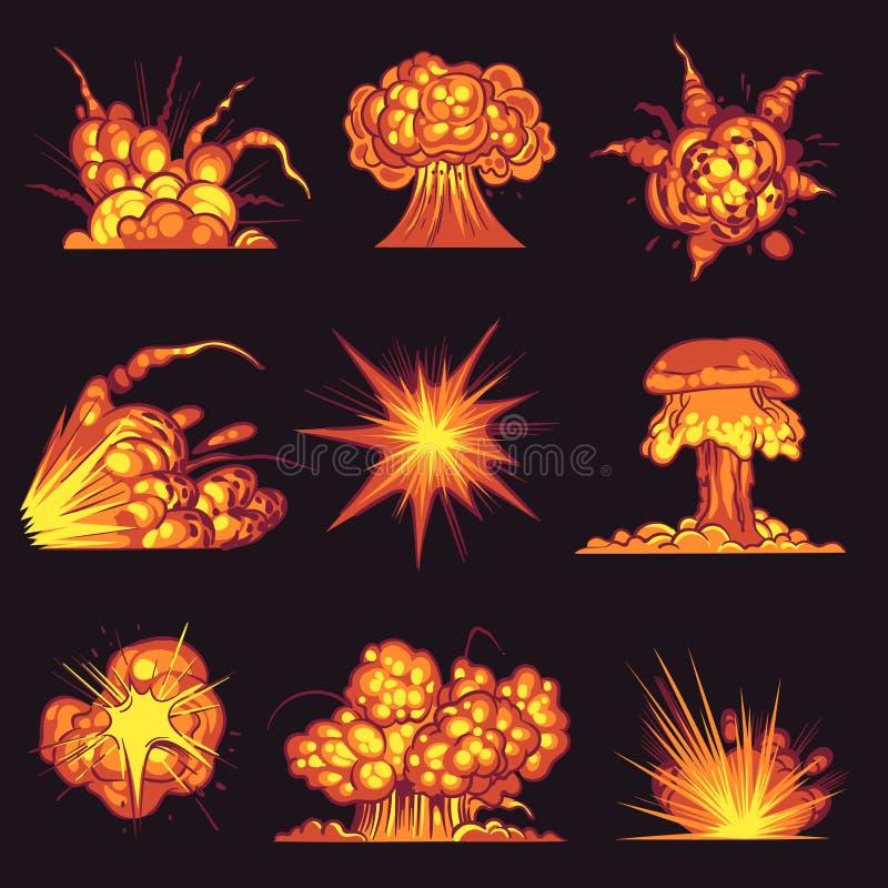 Cartoon explosions. Fire bang with smoke effect of explode dynamite. Danger explosive, bomb detonation atomic flash. Mobile game vector destruction motion vector illustration