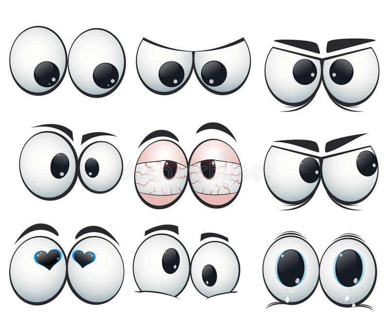 Cartoon expression eyes with different views royalty free illustration
