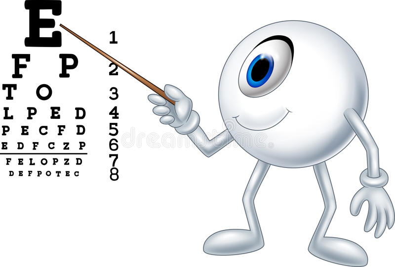 Cartoon eye ball optician pointing to Snellen chart. Illustration of Cartoon eye ball optician pointing to Snellen chart royalty free illustration