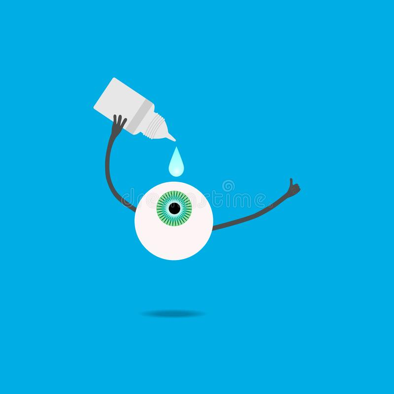 The cartoon eye is digging in drops. A cartoon eye dripping drops and holding a thumbs up stock illustration
