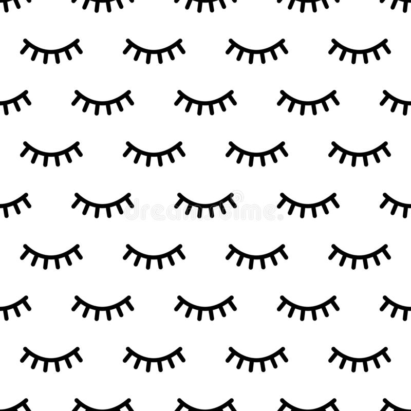 Cartoon eyelashes pattern. Doodle female makeup background, simple minimalist unicorn closed eyes. Vector seamless print royalty free illustration