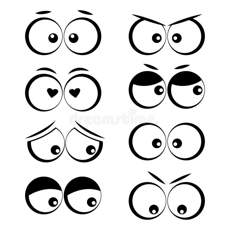 Cartoon eyes with different emotions. Vector illustration. Collection of cartoon eyes with different emotions. Vector illustration stock illustration