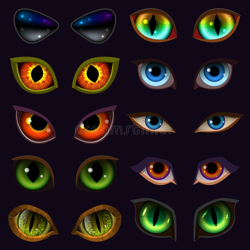 Cartoon eyes vector devil eyeballs of beast or monster and animals scary expressions with evil eyebrow and eyelashes vector illustration