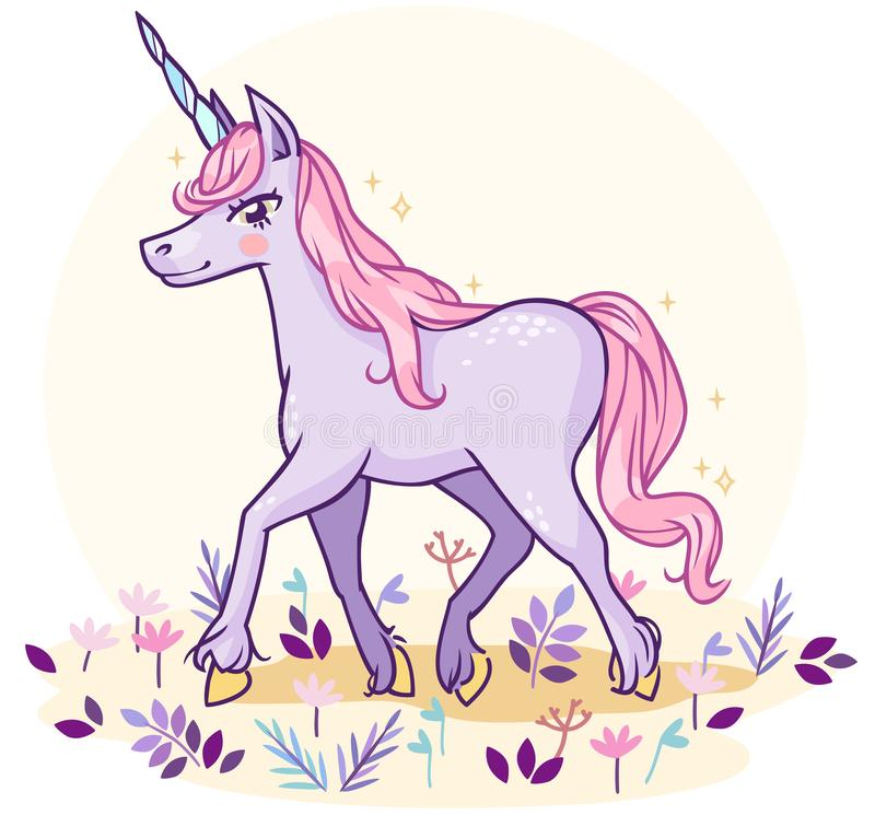 Cartoon fabulous unicorn of pastel colors in the meadow stock illustration