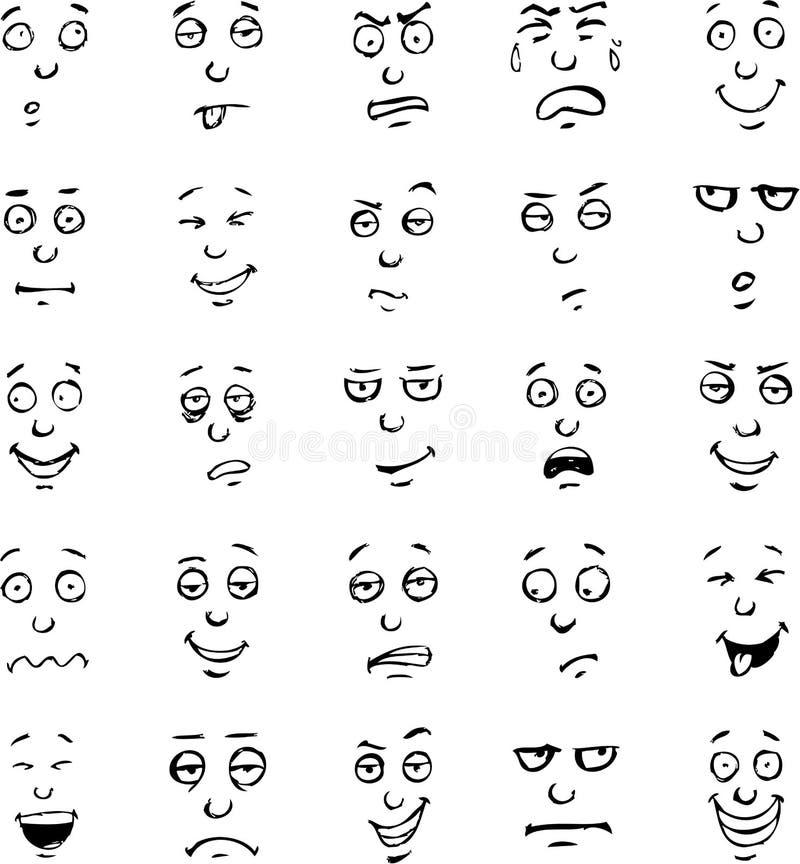 Free Cartoon Face Emotions Hand Drawn Set Royalty Free Stock Photos - 41484938