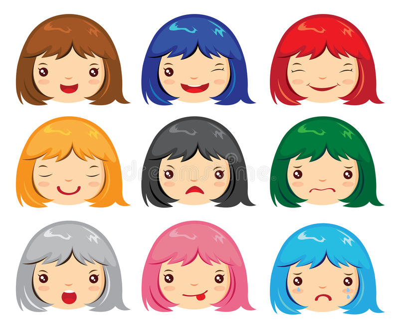 Cartoon face emotions stock vector. Illustration of ...