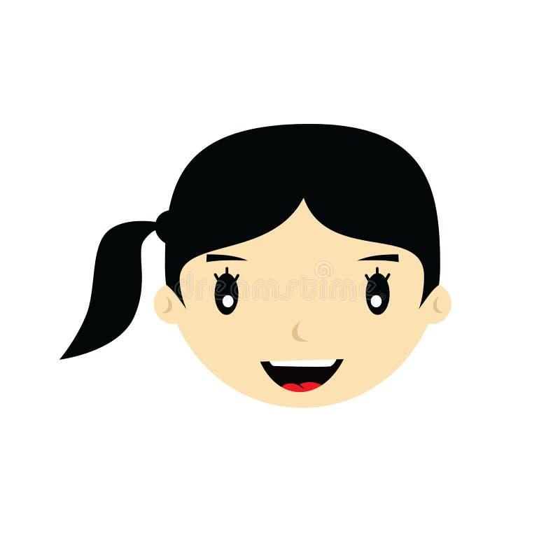 Cartoon face expression female woman girl art. Illustration vector illustration
