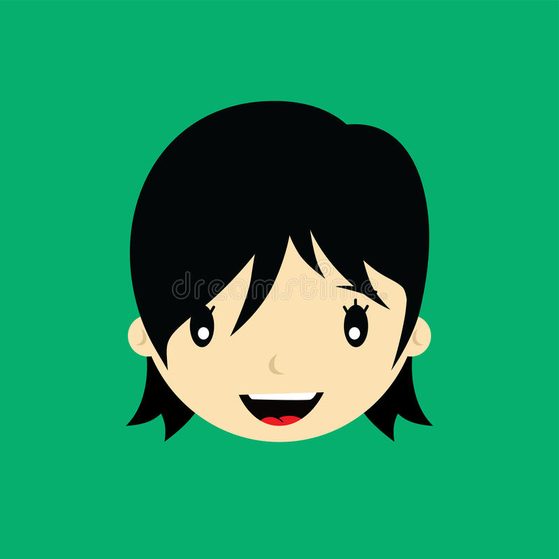 Cartoon face expression female woman girl art. Illustration royalty free illustration