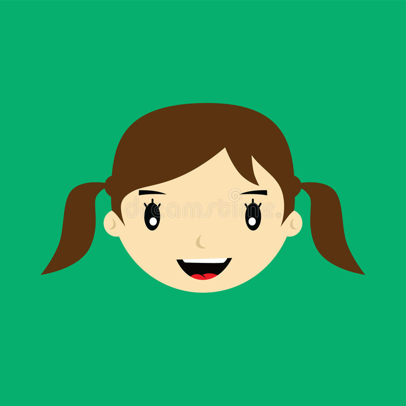 Cartoon face expression female woman girl art. Illustration stock illustration