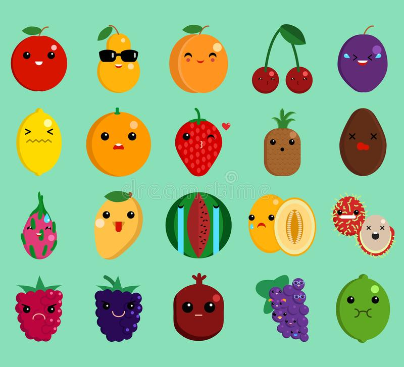 Cartoon face funny fruit emoji elements collection stock illustration