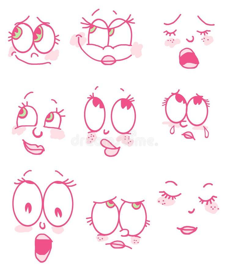 Cartoon face girl vector illustration
